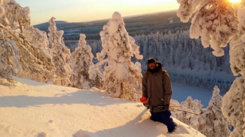 Joona Kangas hiking at Ruka backcountry with Anttu Oikkonen.